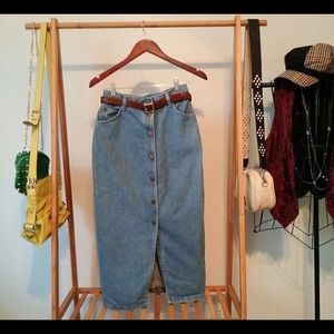 Vintage Button Front Denim Midi Skirt